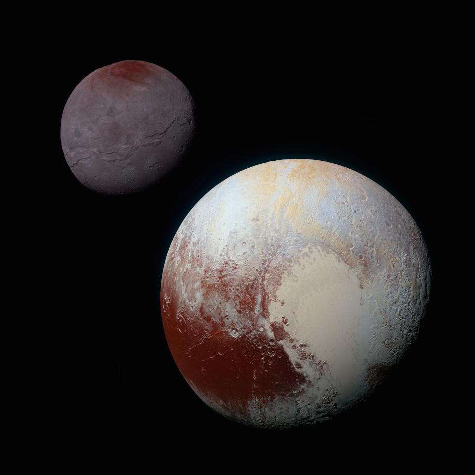 Pluto and its moon Charon; image composite stitched together from New Horizons images.