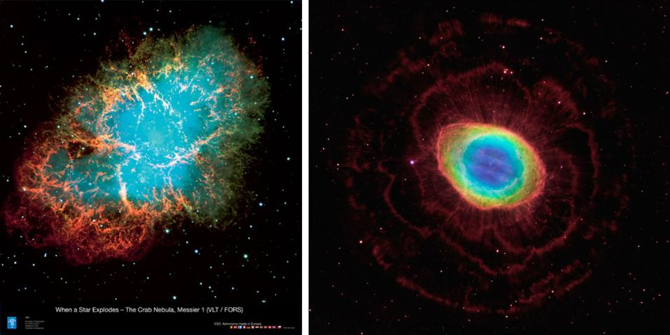 Remnants of a supernova (massive star) and planetary nebula (sun-like star) side by side.