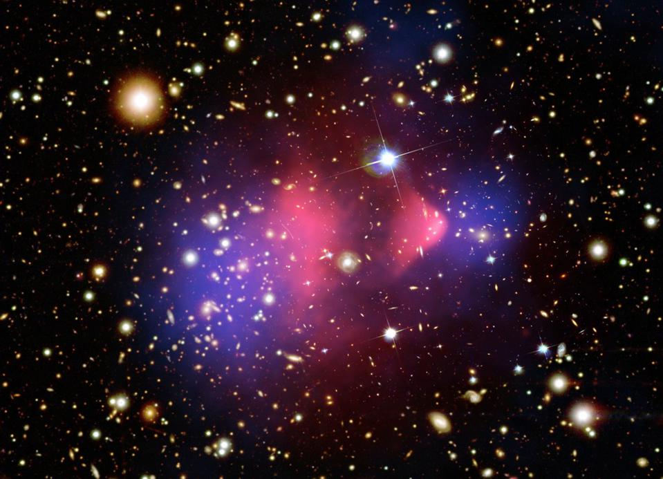 Lensing, X-ray, and optical data of the bullet cluster, revealing dark matter.