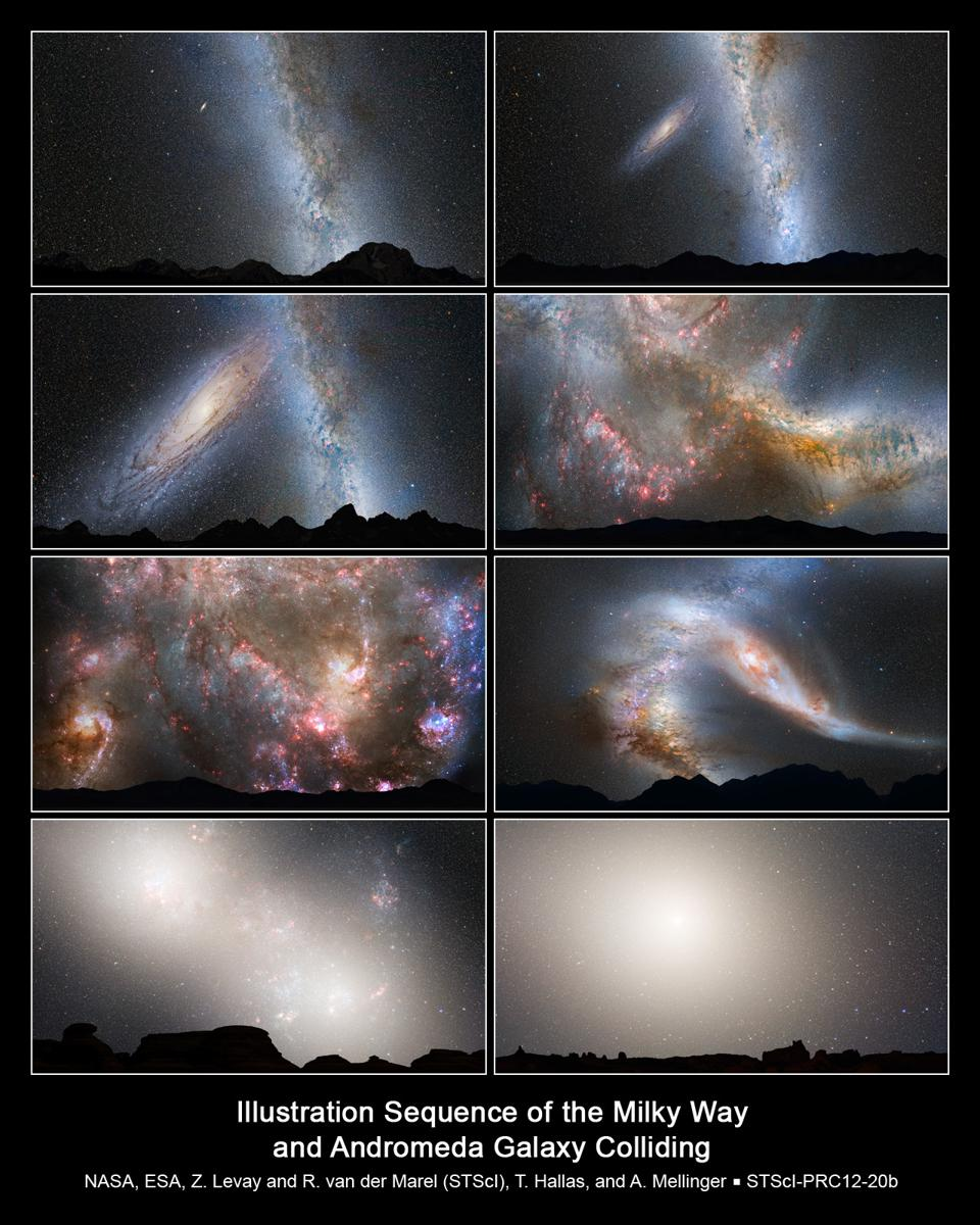 A series of stills showing the future Milky Way-Andromeda merger.
