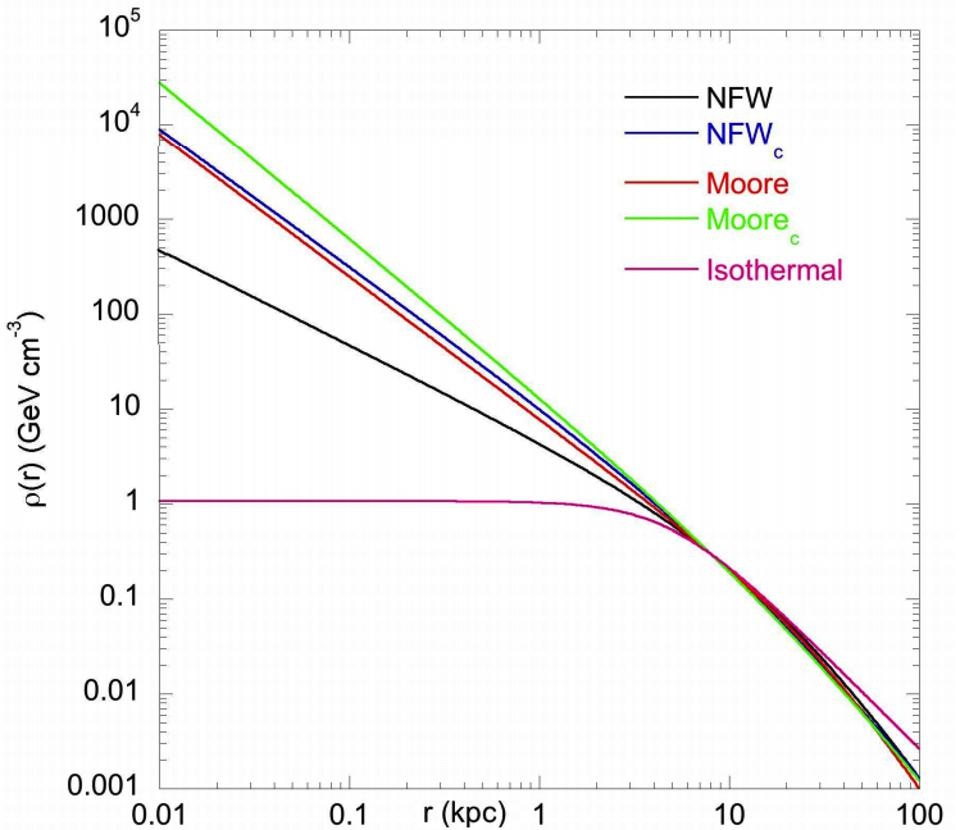 Different dark matter density profiles from simulations, along with an isothermal profile.