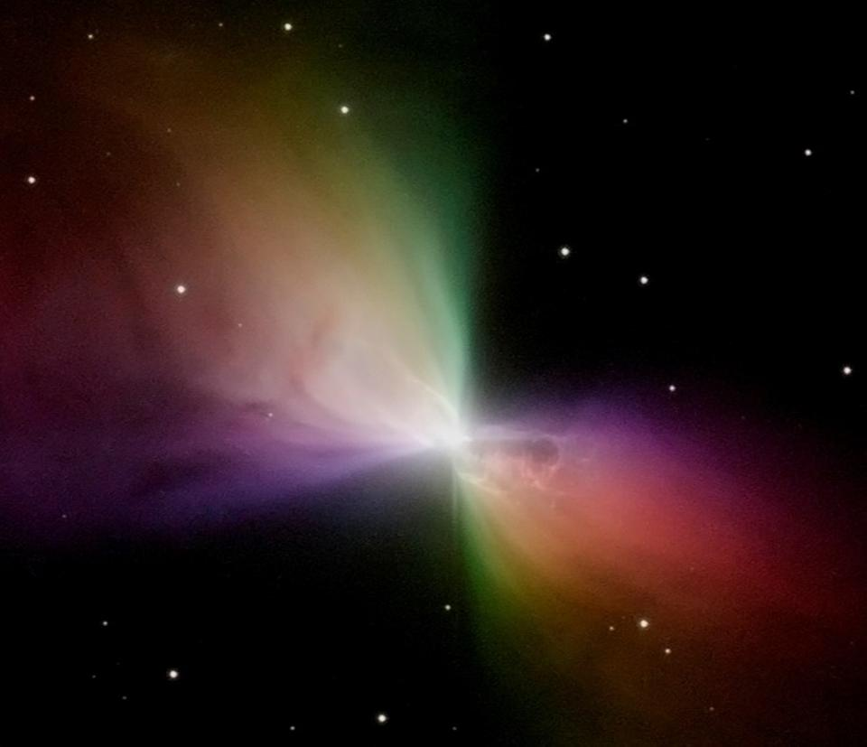 A color-coded image of the Boomerang Nebula, as taken by the Hubble Space Telescope.