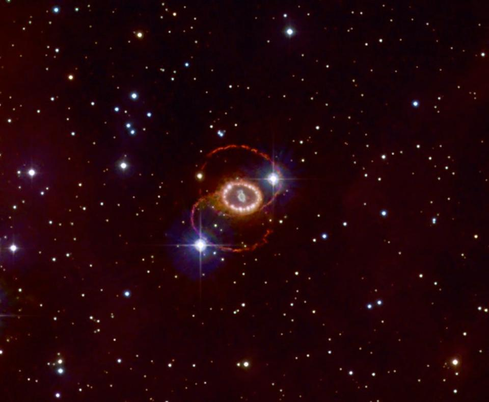The remnant of supernova 1987a, located in the Large Magellanic Cloud.