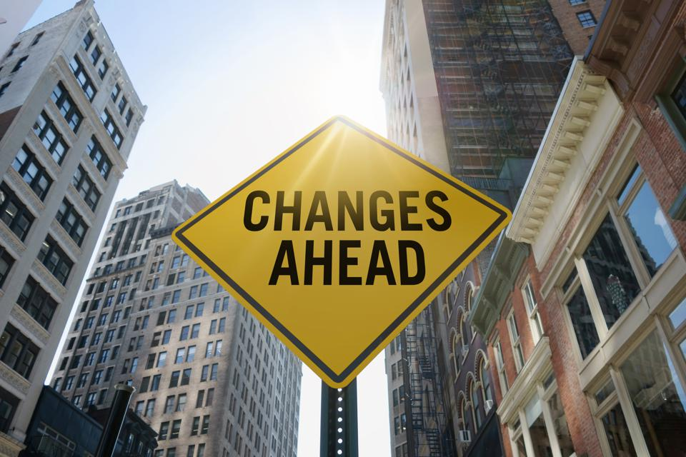 ″Changes ahead″traffic sign