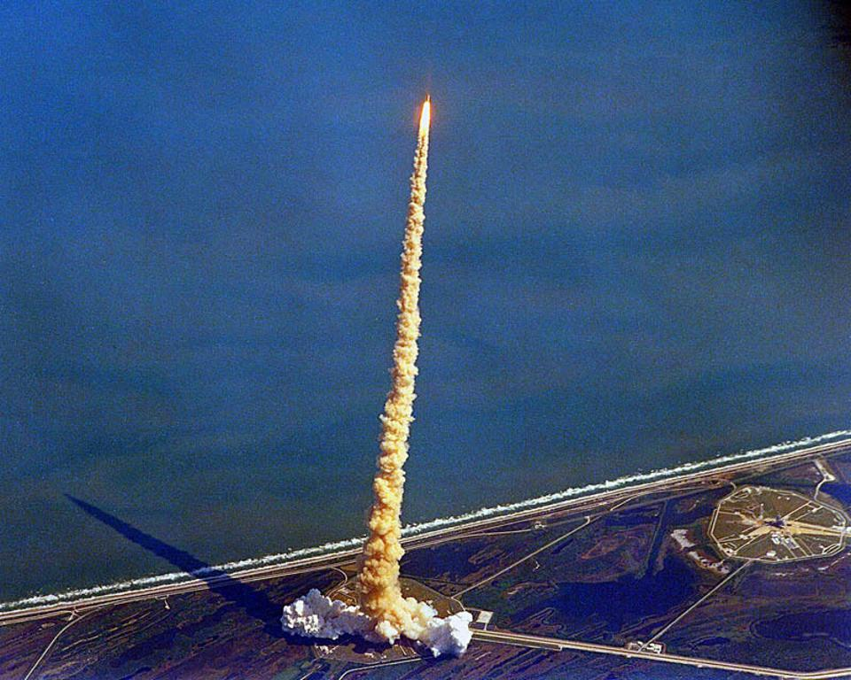 This launch of the space shuttle Columbia in 1992 illustrates constant acceleration.