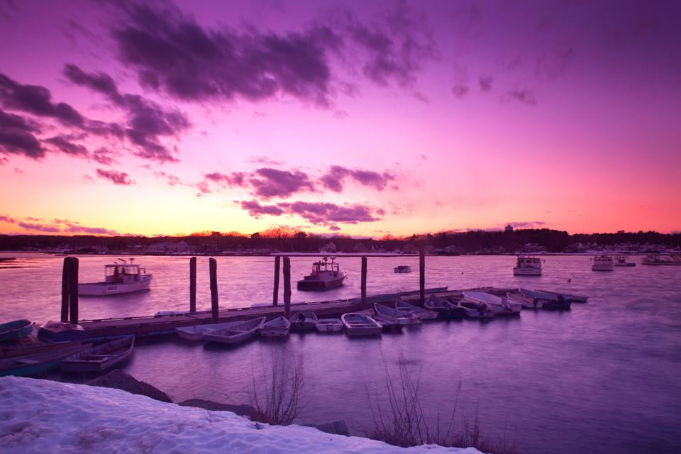 Winter sunset at a Kennebunkport dock