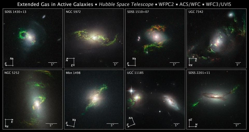 Modern 'green pea' galaxies with their doubly-ionized oxygen emission.