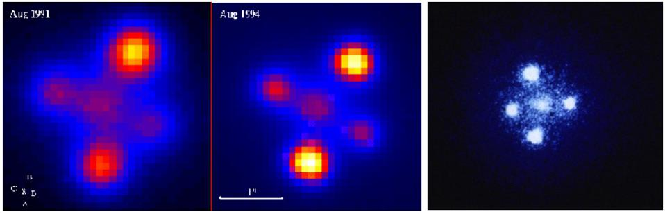The first quadruple-lens system ever discovered, known as an Einstein Cross.