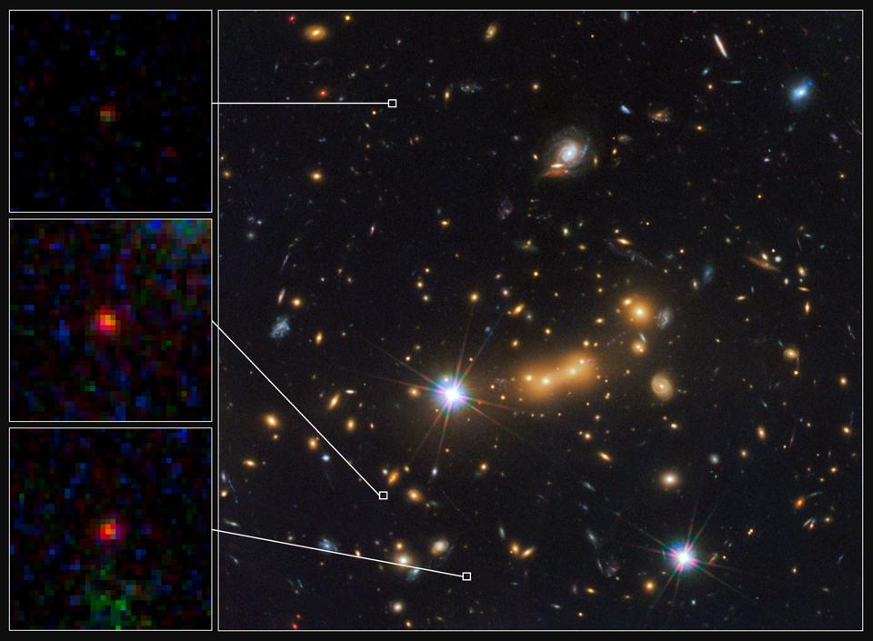 The ultra-distant, lensed galaxy candidate, MACS0647-JD, in three separate locations.