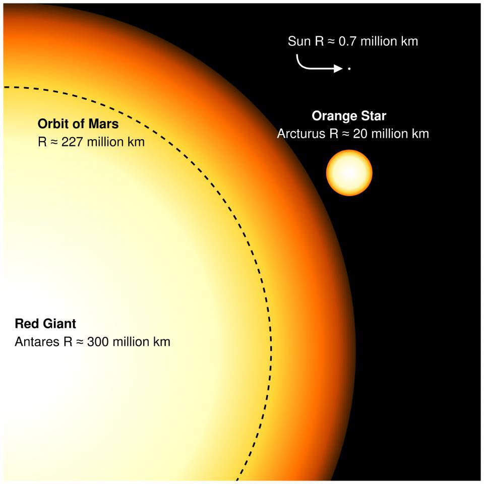 A size comparison between the Sun, a red giant, and a red supergiant star.