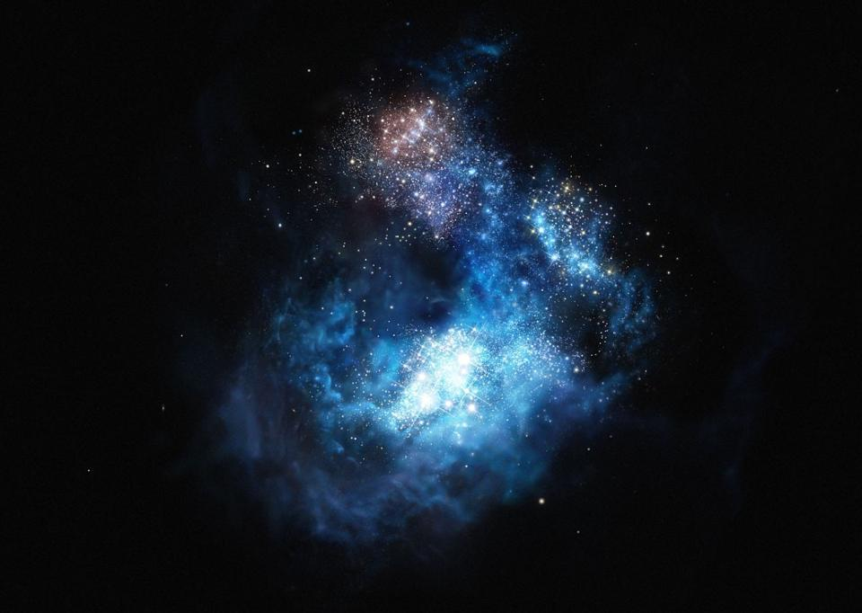 An illustration of CR7, the first galaxy detected that was thought to house pristine stars