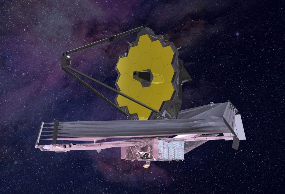 An artist's conception (2015) of what the James Webb Space Telescope will look like.