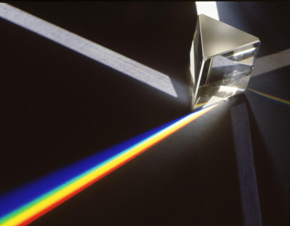 The behavior of white light as it passes through a prism.