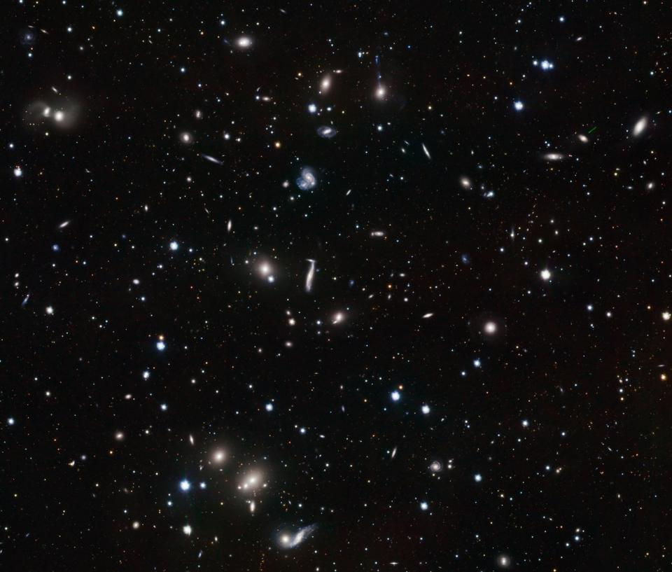 The Hercules galaxy cluster showcases a great concentration of galaxies.