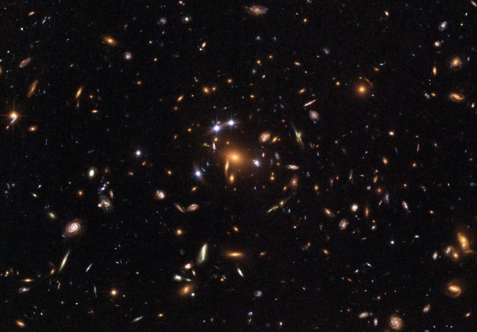 Clumps and clusters of galaxies cause weak gravitational lensing.