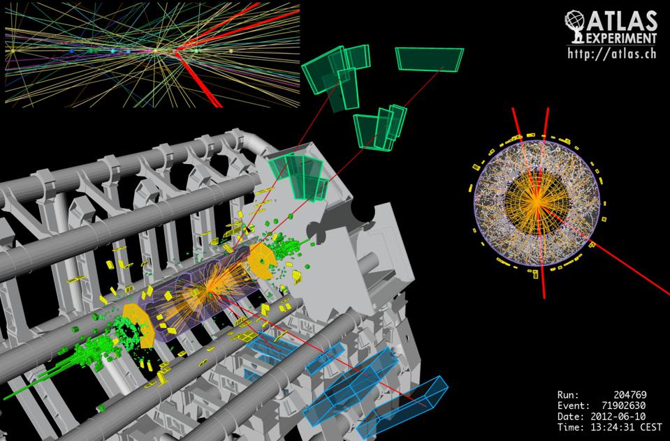 A four-muon candidate event in the ATLAS detector at the Large Hadron Collider.