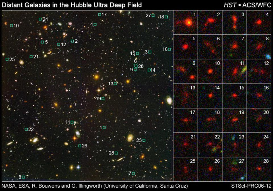The smallest, faintest, most distant galaxies in the deepest Hubble image ever taken.