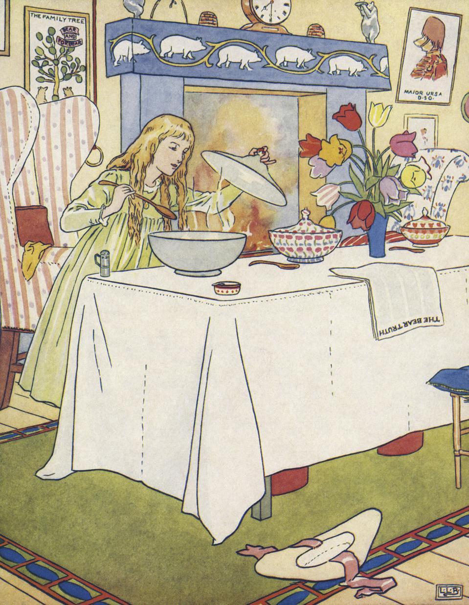 The Three Bears Goldenlocks / Goldilocks tasting their porridge
