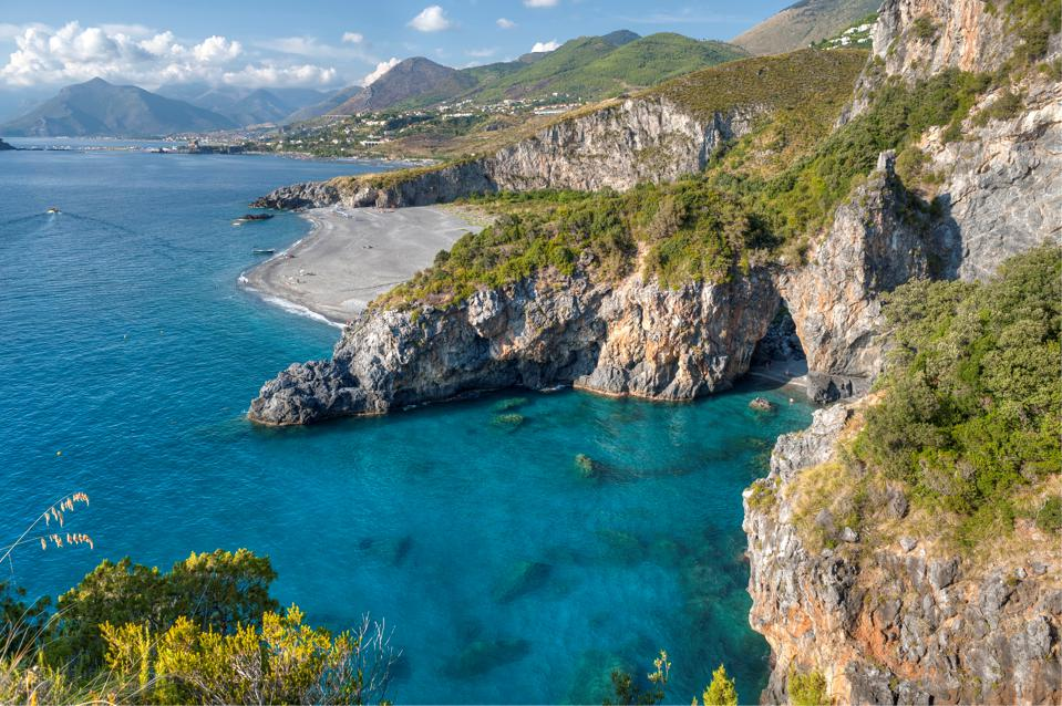 Italy Calabria Tyrrhenian Sea the Arco Magno rocky coastline and Praia a Mare coastline