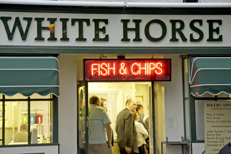 The White Horse Cafe, Fish And Chips Restaurant in Thirsk, North Yorkshire, U.K.