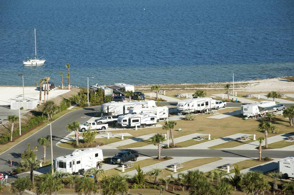 Trailer park at Pensacola Beach Florida on the Santa Rosa waterfront