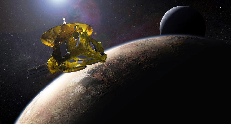 The new horizons space probe as it approaches Pluto.