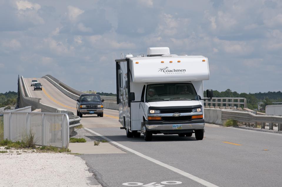 Motor home crossing the Navarre Beach Causeway northwest Florida USA