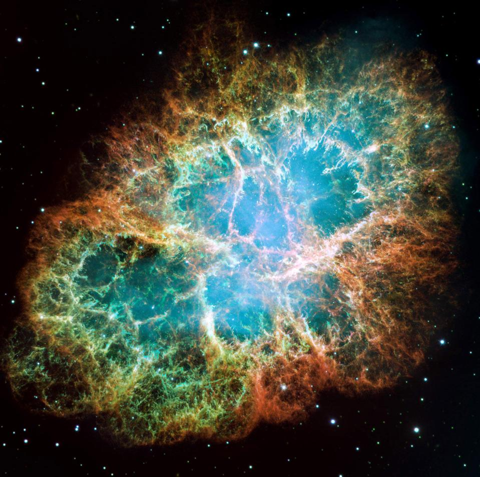 An optical composite/mosaic of the Crab Nebula as taken with the Hubble Space Telescope.