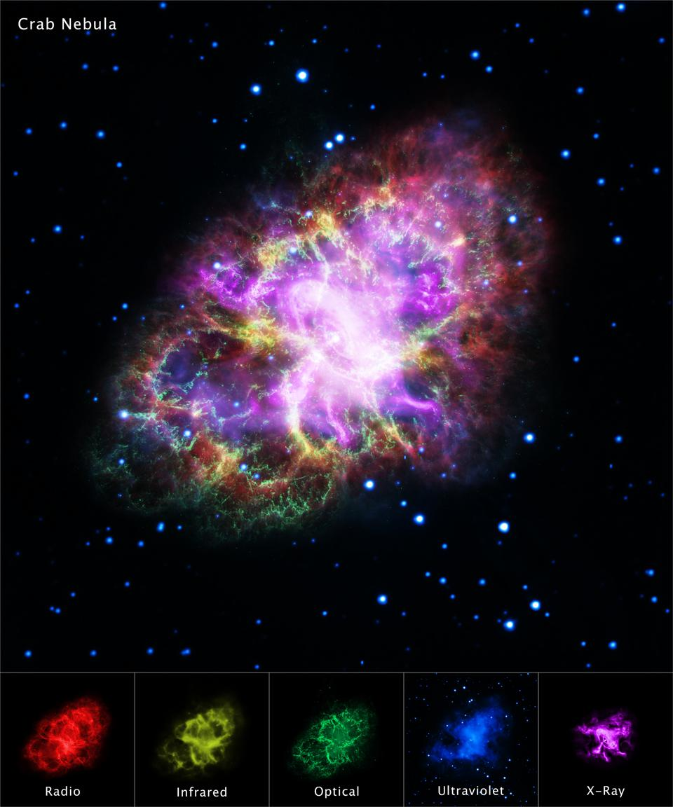 Five different combined wavelengths show the true magnificence of the Crab Nebula.