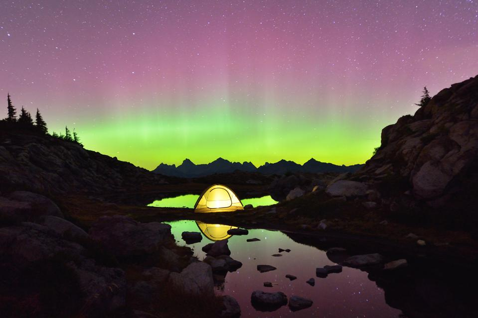 Aurora Borealis and tent on Artist Point