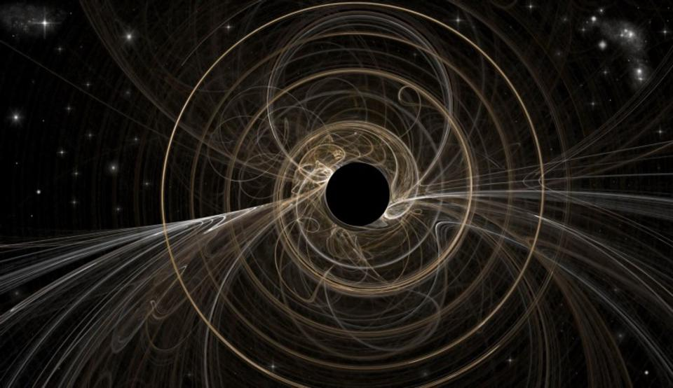 The simulated decay of a black hole resulting in the emission of radiation.