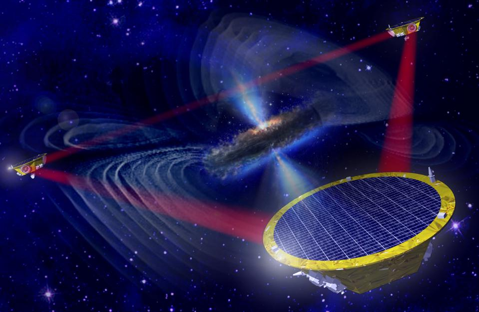 An artist's impression of the three LISA spacecraft.