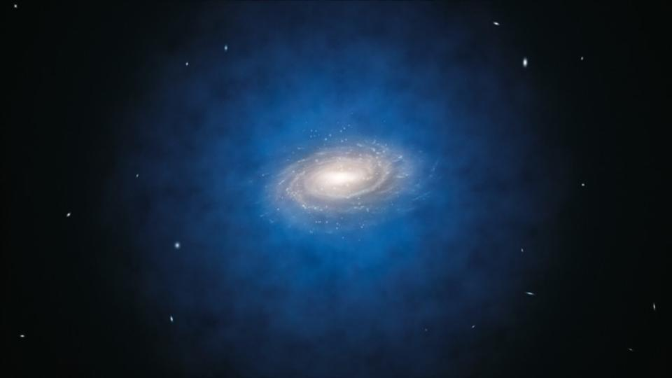 The majority of dark matter exists in a vast halo extending far beyond the luminous parts.
