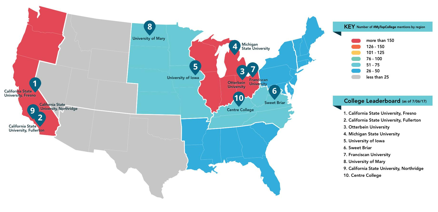 My Top College - Map of us colleges