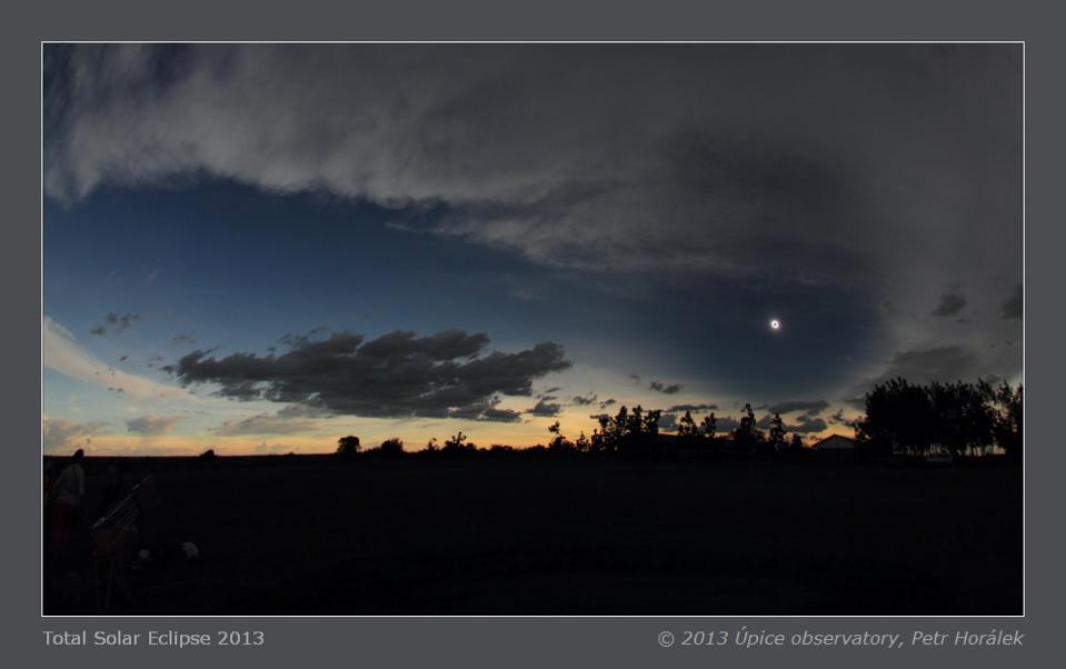 A view of the 2013 total solar eclipse and the darkness it brings to the day.