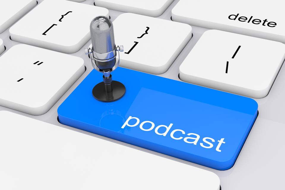 Online Media Concept. Blue Podcast Button with Microphone. 3d Re