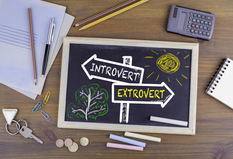 Introvert - Extrovert signpost drawn on a blackboard