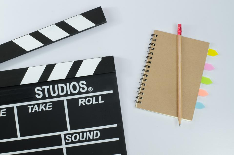 Slate film and notebook white background