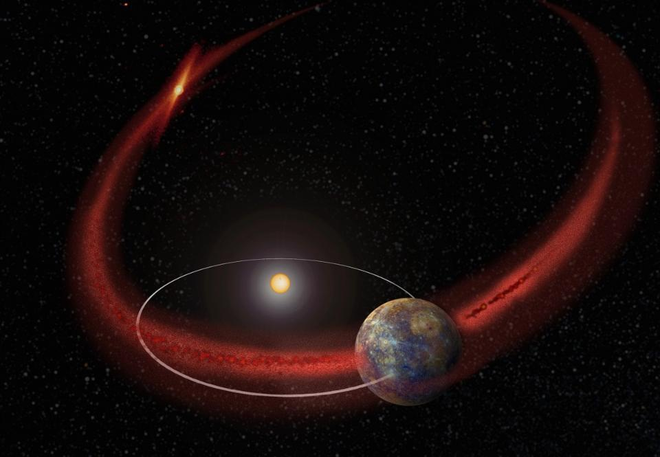 When a planet crosses the debris stream of a comet, meteor showers can ensue.