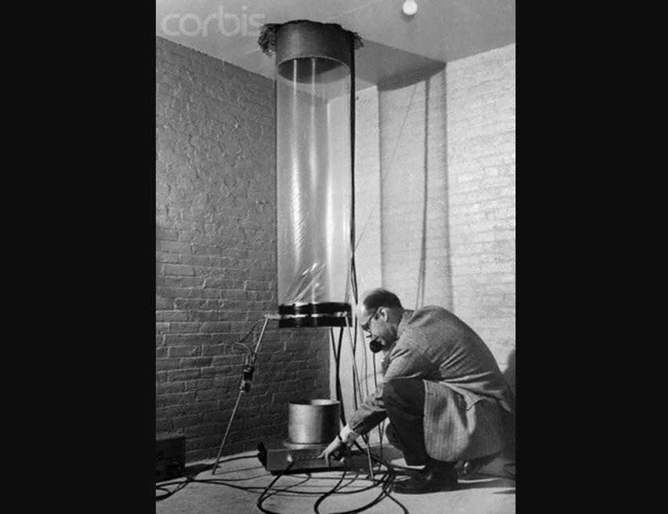 Glen Rebka on the phone during setup of the Pound-Rebka experiment.