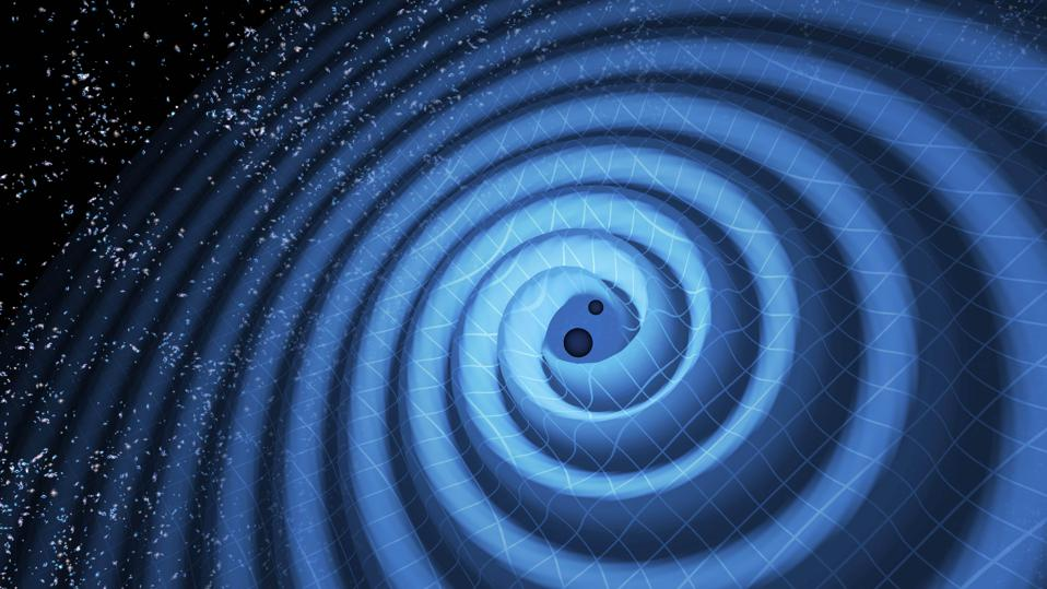Illustration of spacetime ripples from inspiraling black holes in General Relativity.