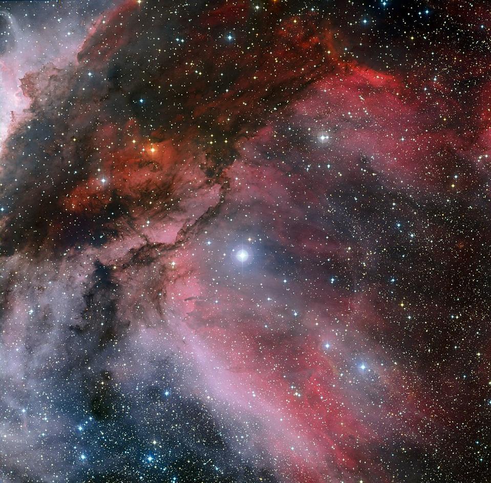 Der massive und ungewöhnliche junge Star WR 22 taucht gegen den Carina-Nebel auf.
