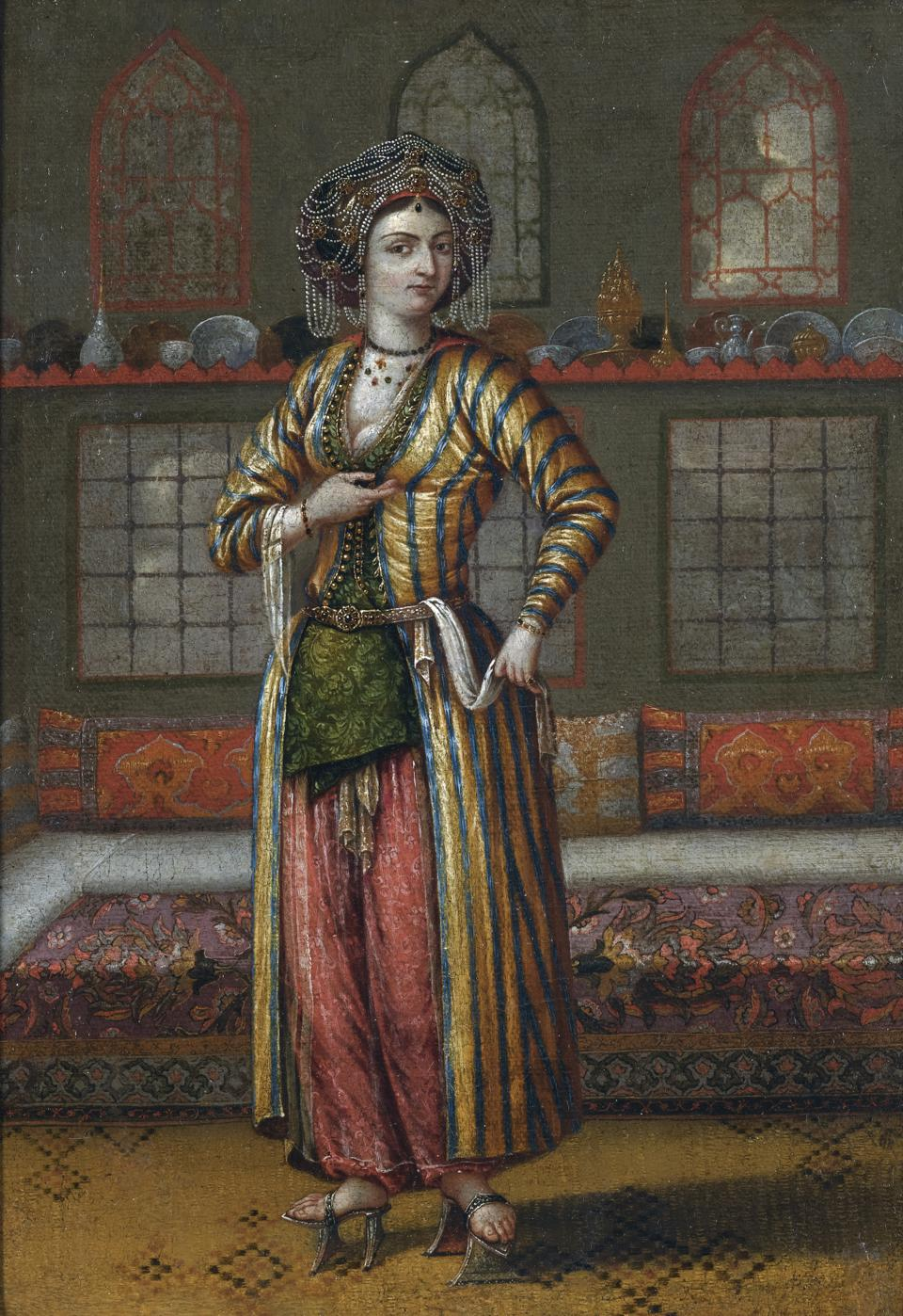 A noble lady of Constantinople wearing Hammam shoes