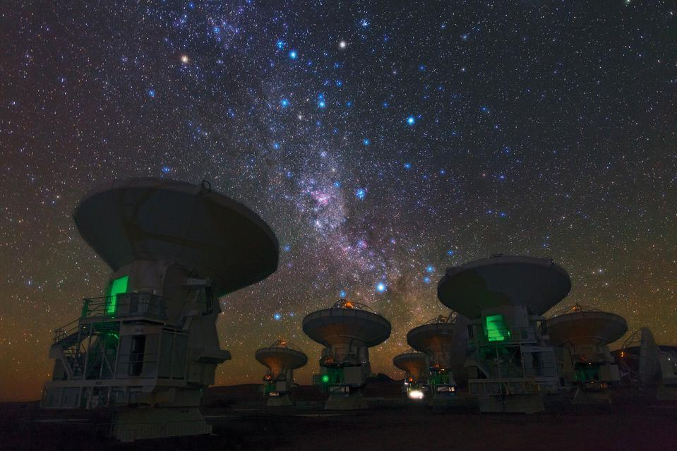 The southern hemisphere's view of the Milky Way as viewed above ALMA.
