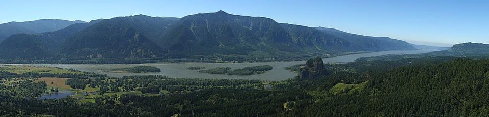 A view of the Columbia River Gorge from the near the top of Hamilton Mountain.