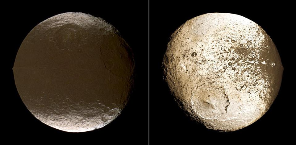 The two very different hemispheres of Iapetus, as imaged by NASA's Cassini.