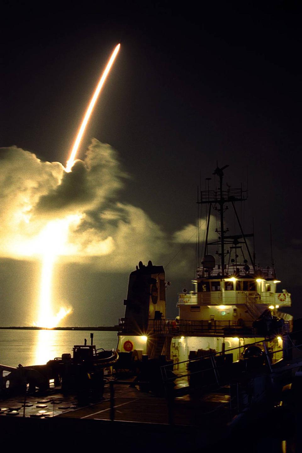 The launch of the rocket carrying NASA's Cassini mission, on October 15, 1997.