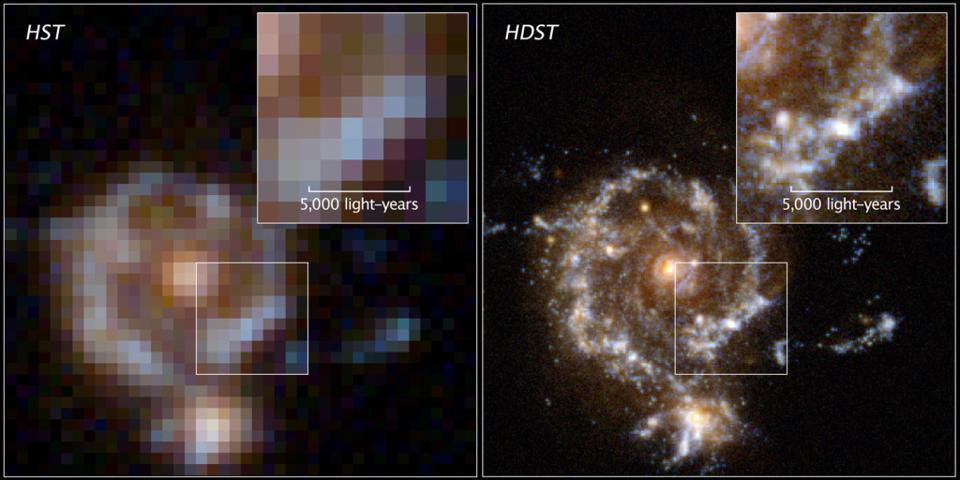 A simulated image of what Hubble would see vs. LUVOIR for the same distant galaxy.