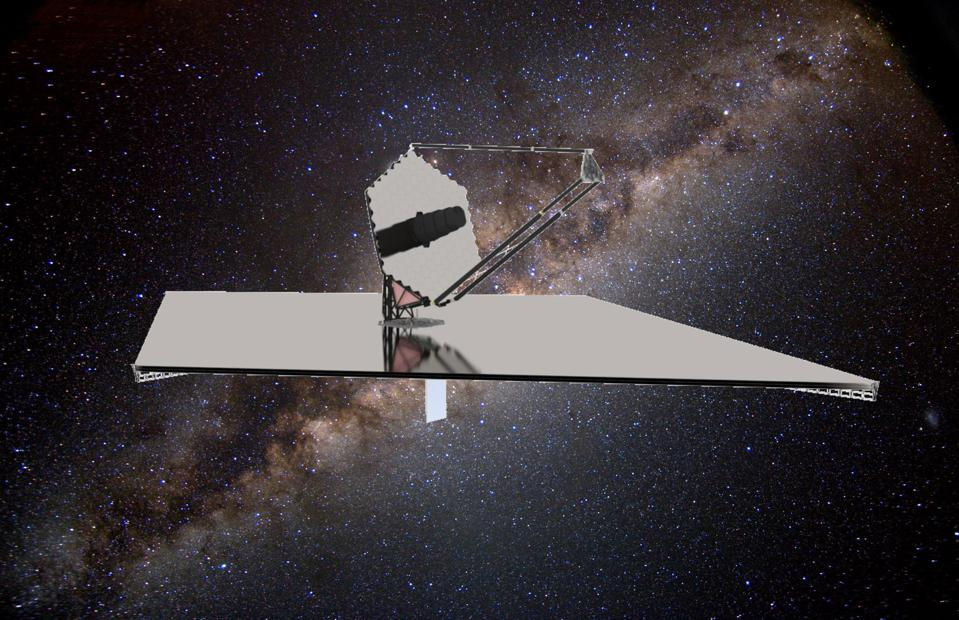 The concept design of the LUVOIR space telescope.