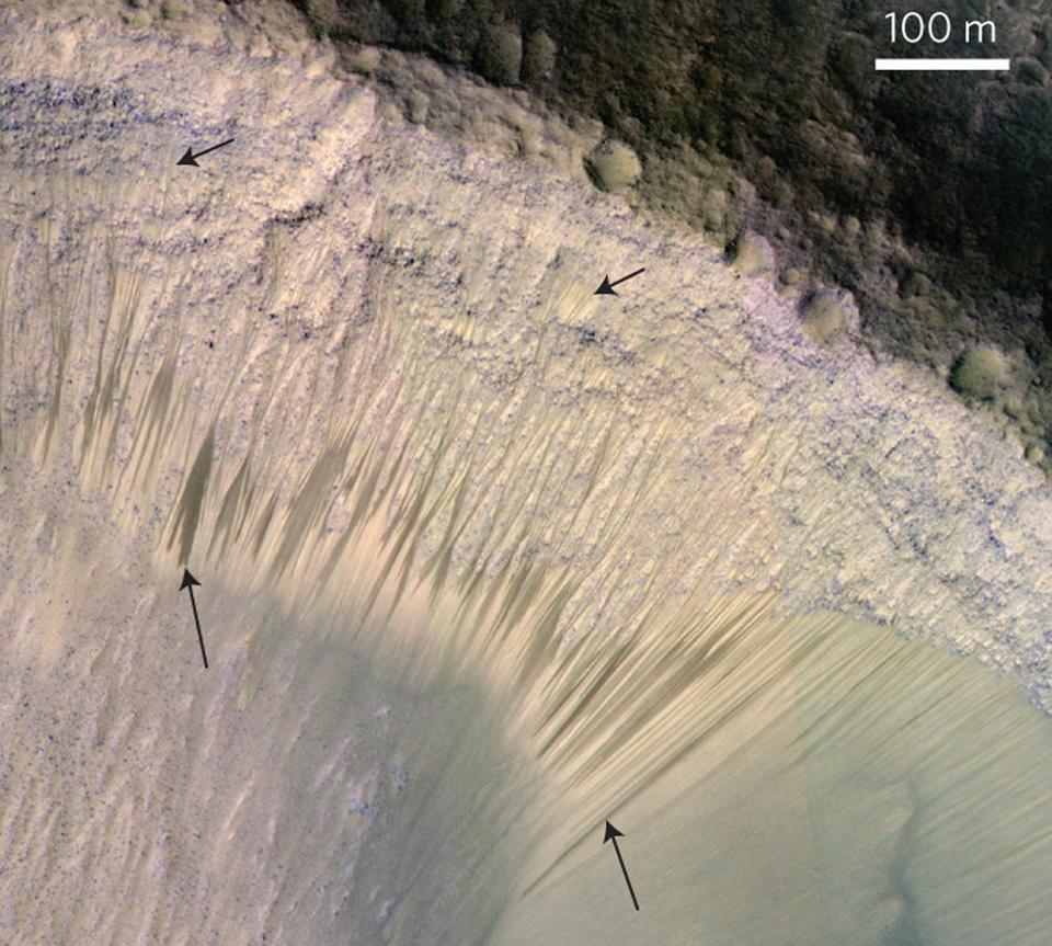 Recurring slope lineae on Mars are caused by the flow of briny, liquid water, even today.